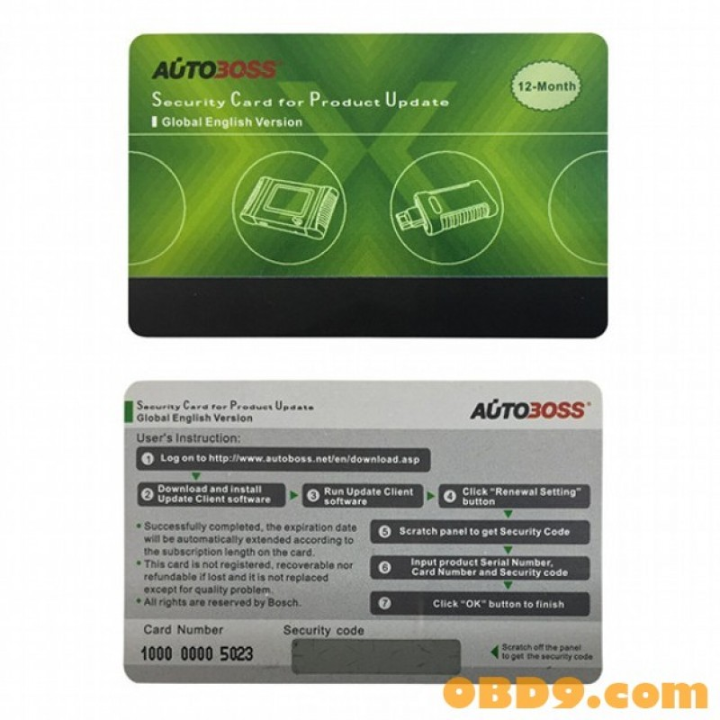 Autoboss V30 V30 Elite Security Card for One Year Online Update Global